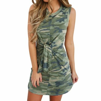 VECDY Ladies Dresses for Womens Summer Holiday Party Dress Camouflage Print Sleeveless Tied Up Straight Mini Dress(14