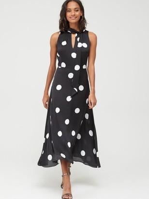Wallis Spot Satin Maxi Dress - Black