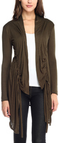 Celeste Olive Ruched Sidetail Open Cardigan