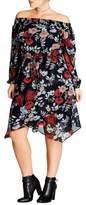 City Chic Dark Poppy Off the Shoulder Dress (Plus Size)