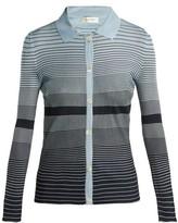 Wales Bonner Striped Button-down Knit Top - Womens - Navy Multi