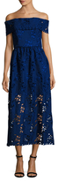ABS by Allen Schwartz Off Shoulder Embroidered Guipure Lace Gown