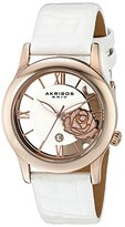 Akribos XXIV Women's AK837WTR Quartz Movement Watch with Rose Gold and See Thru Heart Dial featuring a White Leather Strap