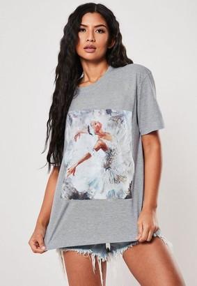 Missguided Petite Gray Ballerina Graphic T Shirt