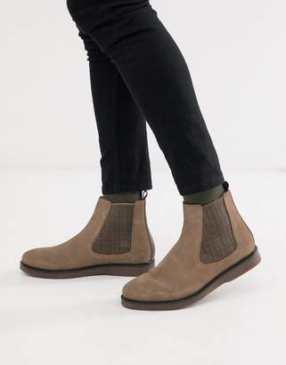 H By Hudson calverston chelsea boots in taupe suede-Brown
