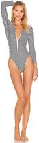 Norma Kamali Rashguard Bodysuit in Black & White. - size S (also in )