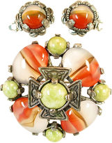 One Kings Lane Vintage Miracle Wavy Agate Brooch Suite