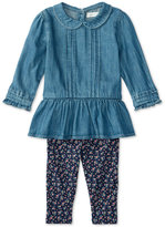 Ralph Lauren Girls' Denim Shirt & Floral-Print Leggings Set