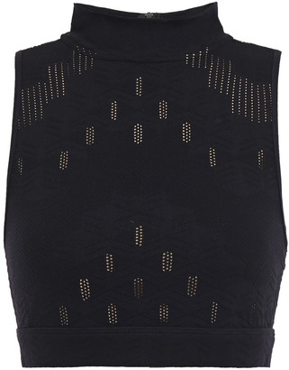 Koral Unami Cropped Pointelle-trimmed Stretch-jacquard Top