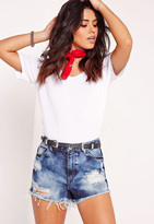 Missguided High Waisted Ripped Shorts Extreme Blue