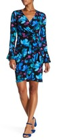 London Times Bell Sleeve Printed Wrap Dress