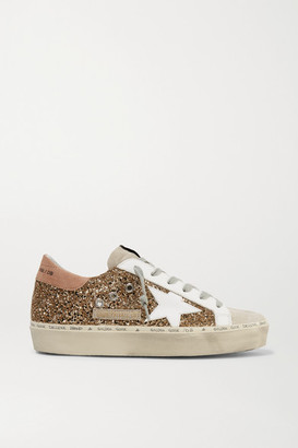 Golden Goose Hi Star Distressed Glittered Leather And Suede Sneakers - IT35