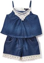 Medium Blue Denim Floral Decal Romper - Infant Toddler & Girls