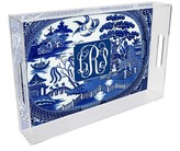 The Well Appointed House Blue Willow Lucite Tray-Can be Personalized-Available in Two Different Sizes