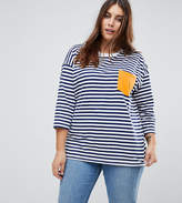 Asos Long Sleeve T-Shirt in Chunky Stripe with Contrast Pocket