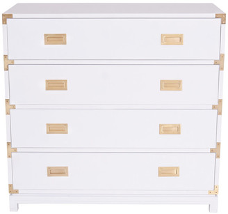 Ave Home Large Carlyle Campaign Dresser, White