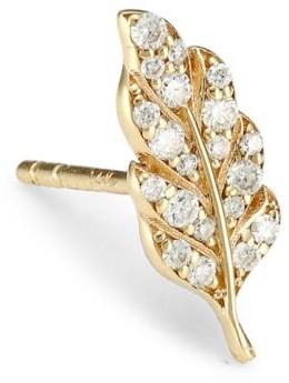 Sydney Evan 14K Yellow Gold & Diamond Feather Single Stud Earring