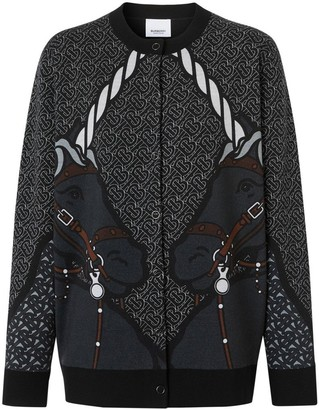 Burberry Unicorn Print Technical Merino Wool Cardigan