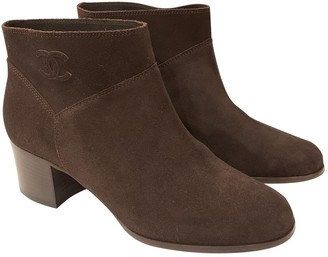 Chanel Brown Suede Boots