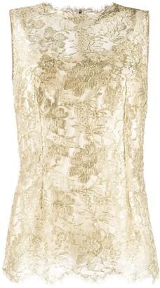 Dolce & Gabbana lace brocade sleeveless blouse