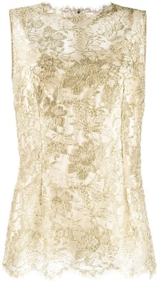 Dolce & Gabbana Lace Brocade Sleeveless Blouse