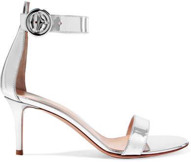 Gianvito Rossi Portofino 70 Metallic Leather Sandals - Silver