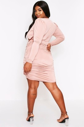 boohoo Wrap Ruched Mini Dress