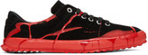 Comme des Garcons Black and Red Painted Novesta Sneakers