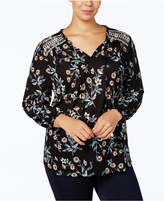 Style&Co. Style & Co Plus Size Embroidered-Yoke Peasant Top, Created for Macy's