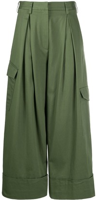 Tibi Pleated Waist Cropped Trousers