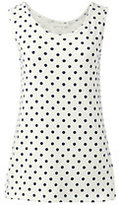 Lands' End Women's Petite Cotton Tank Top-White/Soft Tangelo Geo