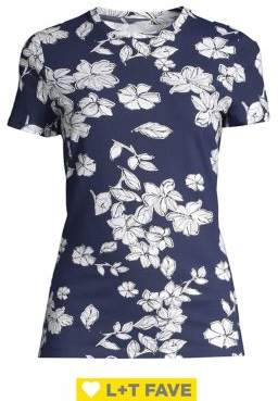 Lord & Taylor Floral-Print Stretch-Cotton Tee