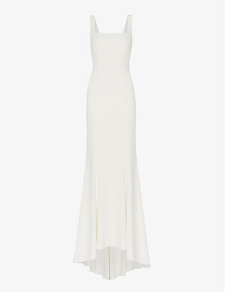 Whistles Mia square-neck lace and crepe wedding gown