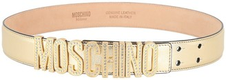 Moschino Embellished Logo Metallic Leather Belt