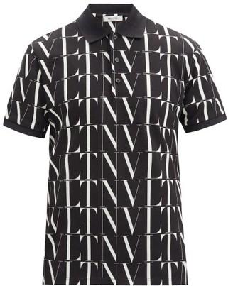 Valentino Vltn-print Cotton Polo Shirt - Black White