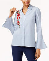 NY Collection Cotton Embroidered Shirt