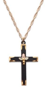 Black Hills Gold Black Powder Coated Brass Cross Pendant with 12k Rose and Green Gold