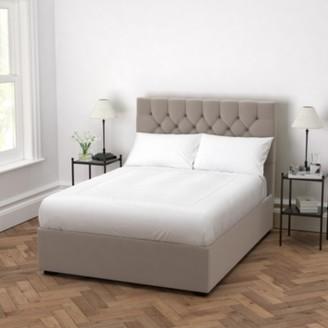 The White Company Richmond Velvet Bed - Headboard Height 154cm, Stone Velvet, Emperor
