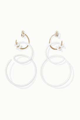 BEA BONGIASCA You're So Vine 9-karat Gold, Enamel And Rock Crystal Earrings - one size