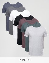 Asos 7 Pack T-Shirt With Scoop Neck