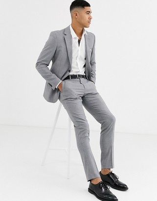 Celio slim fit suit trouser in grey