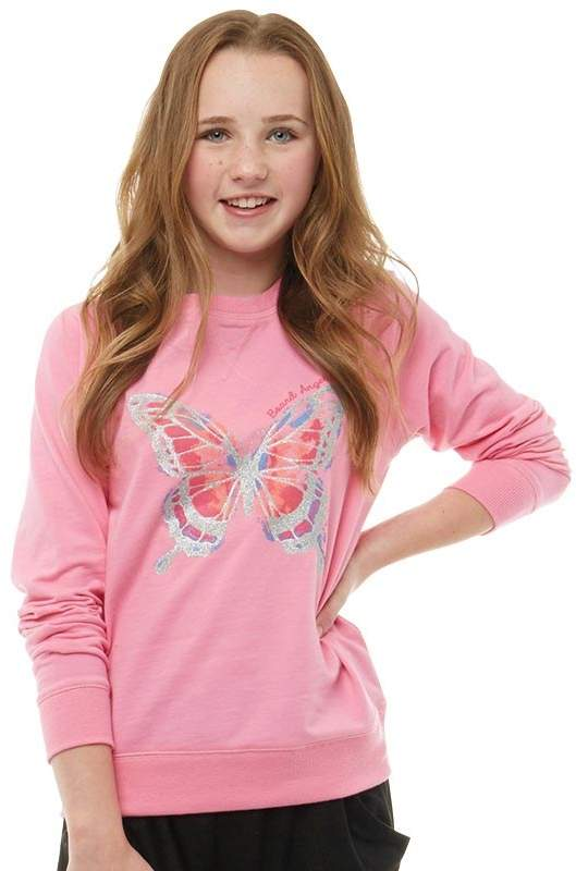 Board Angels Girls Loopback Top With Butterfly Print Pink