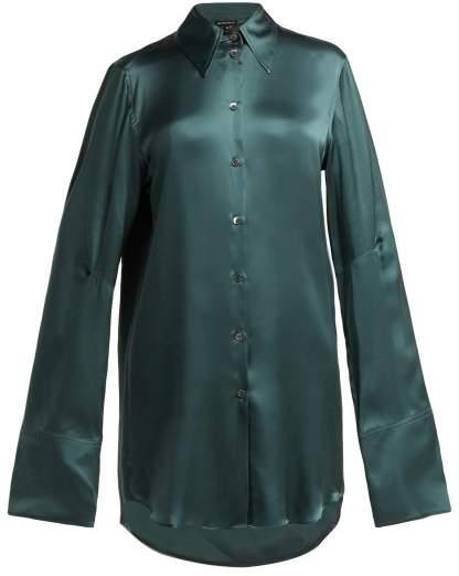 Ann Demeulemeester Extended Cuff Silk Blouse - Womens - Dark Green