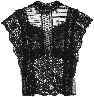Isabel Marant Floral-Lace Short-Sleeve Blouse