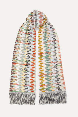 Missoni Fringed Crochet-knit Scarf - White