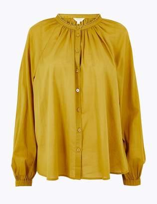 Per Una Per UnaMarks and Spencer Pure Cotton Blouson Sleeve Blouse
