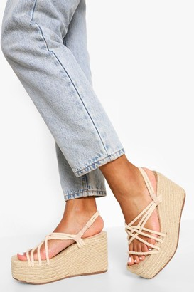 boohoo Square Toe Espadrille Wedge Sandals