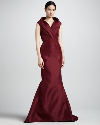 J. Mendel Sleeveless Shawl-Collar Mermaid Gown, Wine