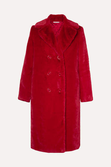 Alice + Olivia Alice Olivia - Montana Double-breasted Faux Fur Coat - Red