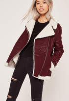 Missguided Faux Fur Lined Pilot Jacket Burgundy